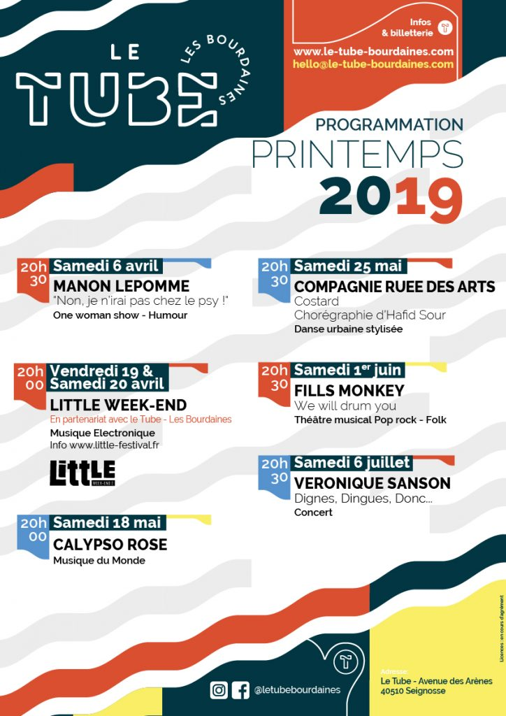 Programmation Le tube - Les Bourdaines Poster A3 Prog Spring 2019 RGB