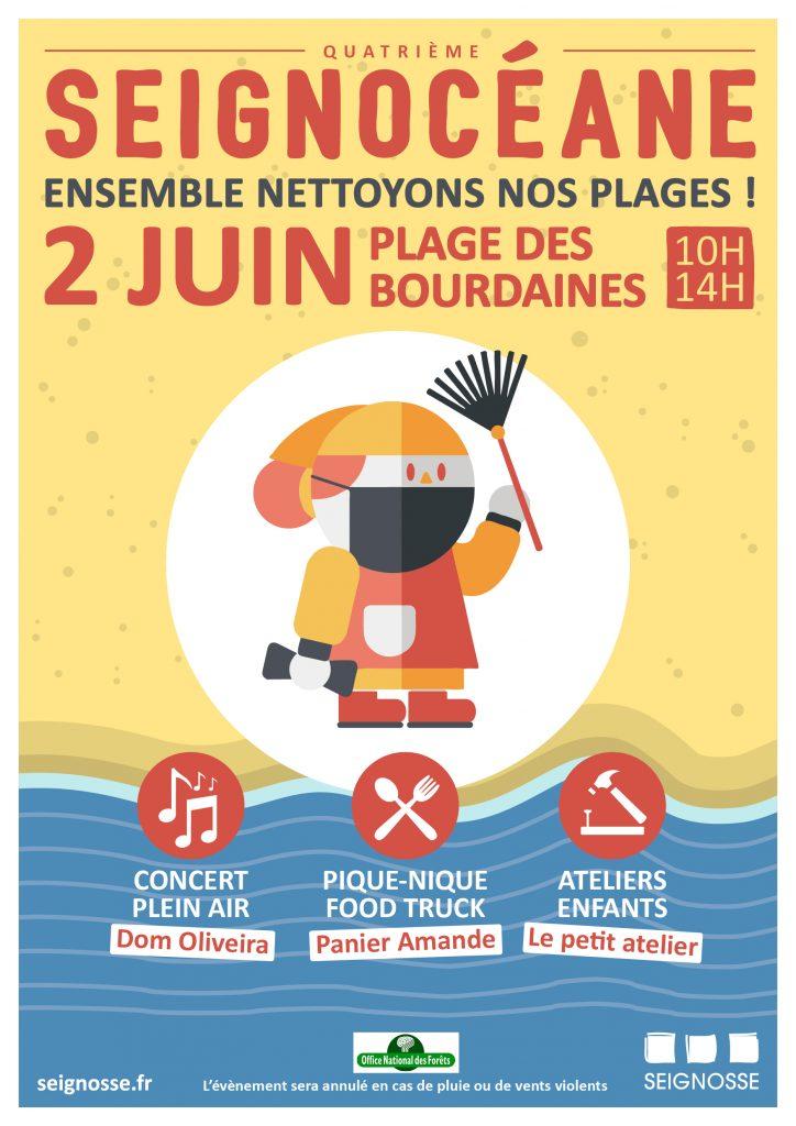Seignocéane, plage des Bourdaines aff seignoceane juin