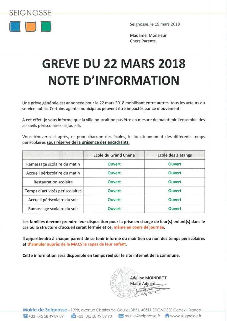 grève du 22 mars - informations Grève du 22 mars - Informations courrier greve 22 mars