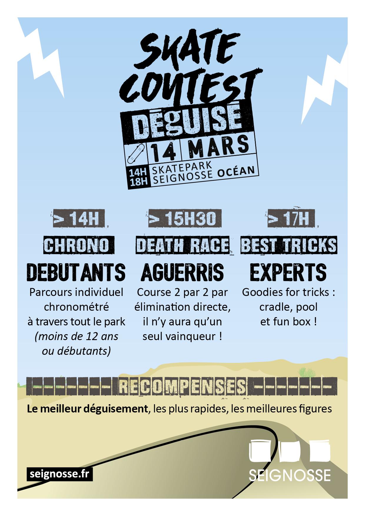 skate contest déguisé Skate contest déguisé - reporté seignosse skate contest flyer