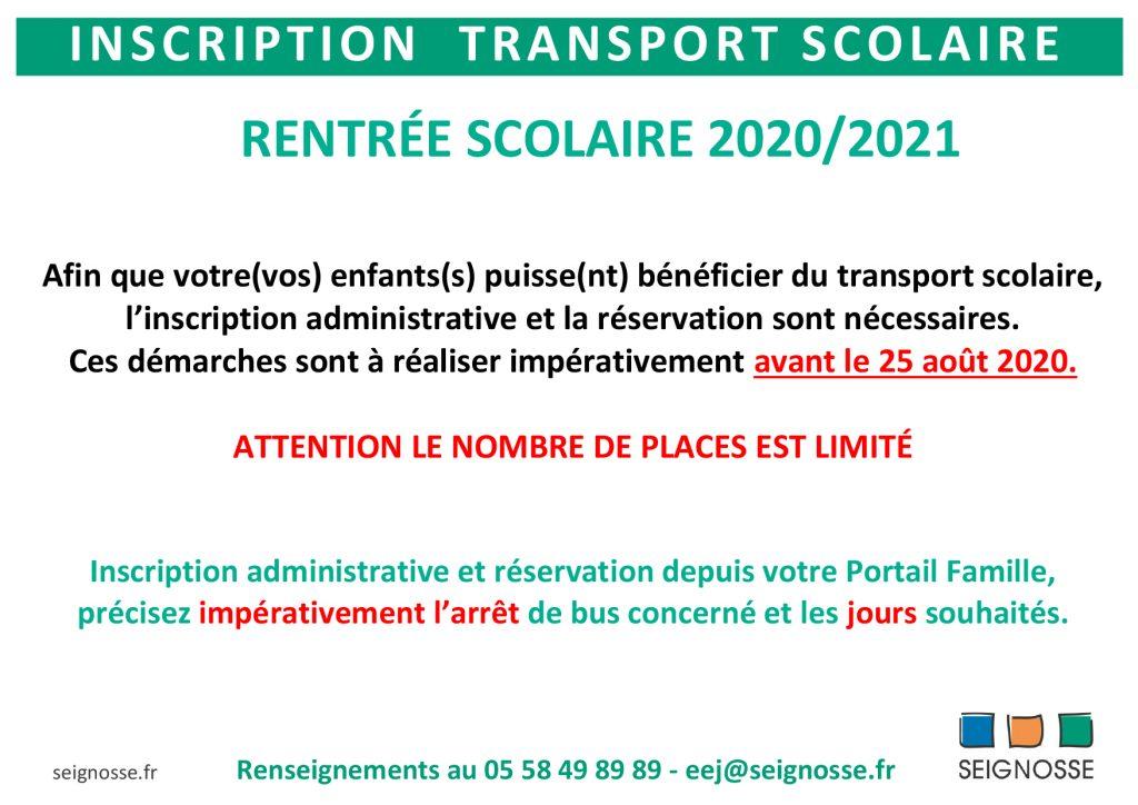 Inscriptions ramassage scolaire 2020 SCO Information aux familles Ramassage scolaire rentr  e 2020